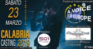 "23 marzo casting ""A Voice for Europe: Italia"" a Vibo Valentia"